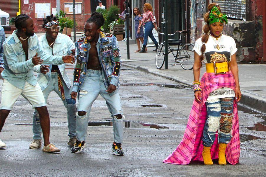 """Janet Jackson à New York le23 juillet 2018 pour le tournage de son clip """"Made For Now"""""""