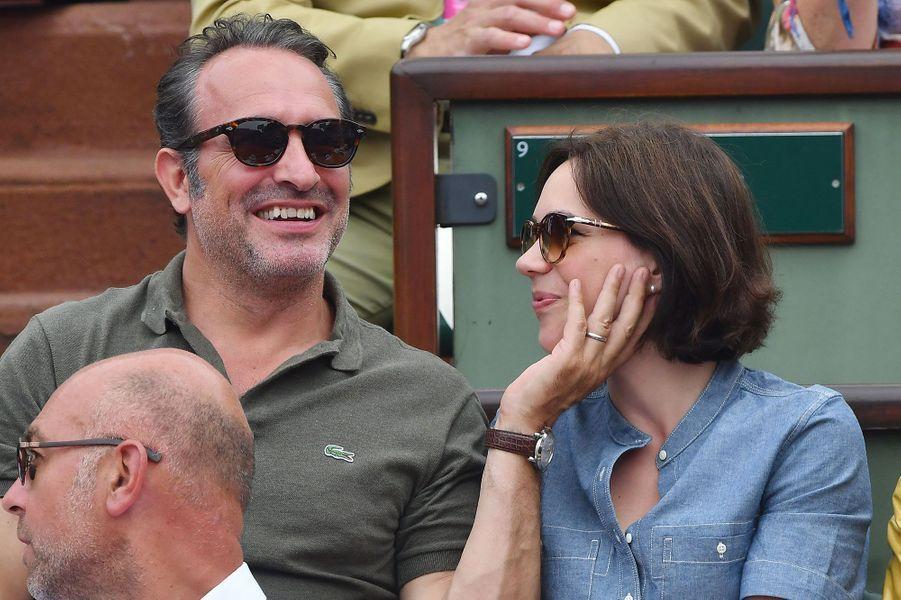 Jean Dujardin et Nathalie Péchalat à Roland-Garros dimanche