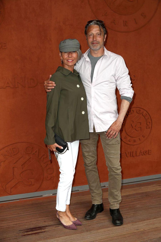 Mads Mikkelsen et son épouse Hanneà Roland-Garros le 9 juin 2019