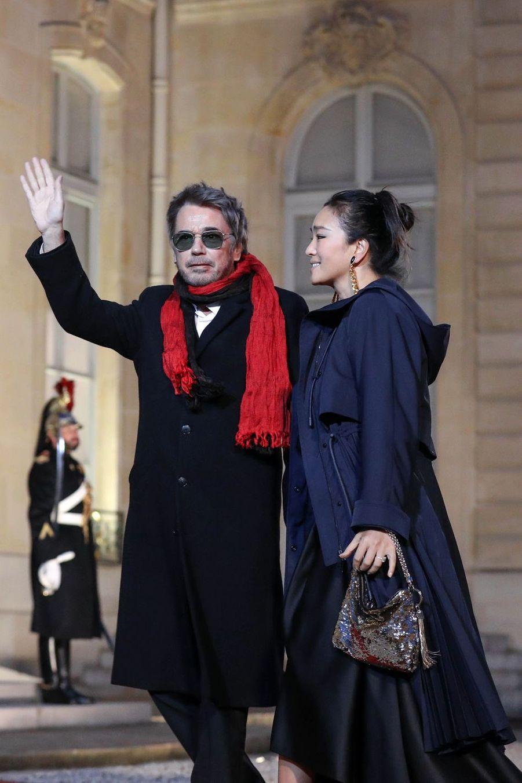 Jean-Michel Jarre et Gong Li à l'Elysée le 25 mars 2019