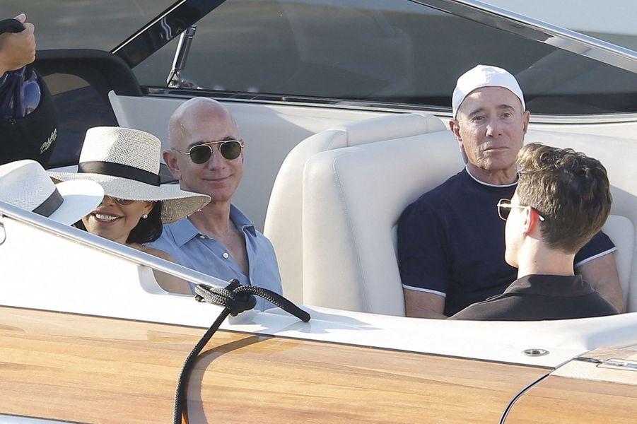Lauren Sanchez, Jeff Bezos et David Geffen à Saint-Tropez le 9 août 2019