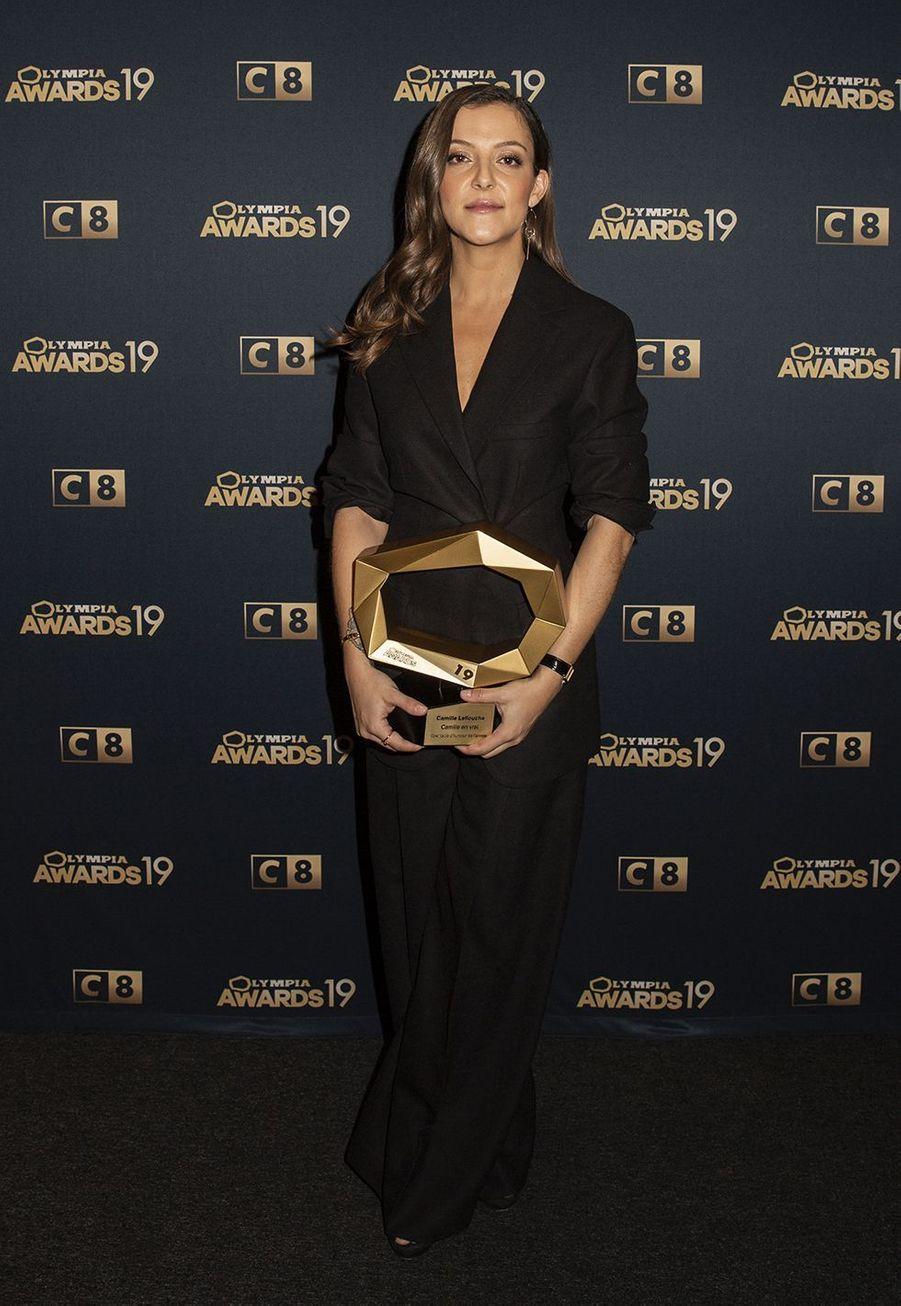 Camille Lellouchelors de la 1ère édition des Olympia Awards, cérémonie récompensant des artistes de la musique et de l'humour, à Paris le 11 décembre 2019