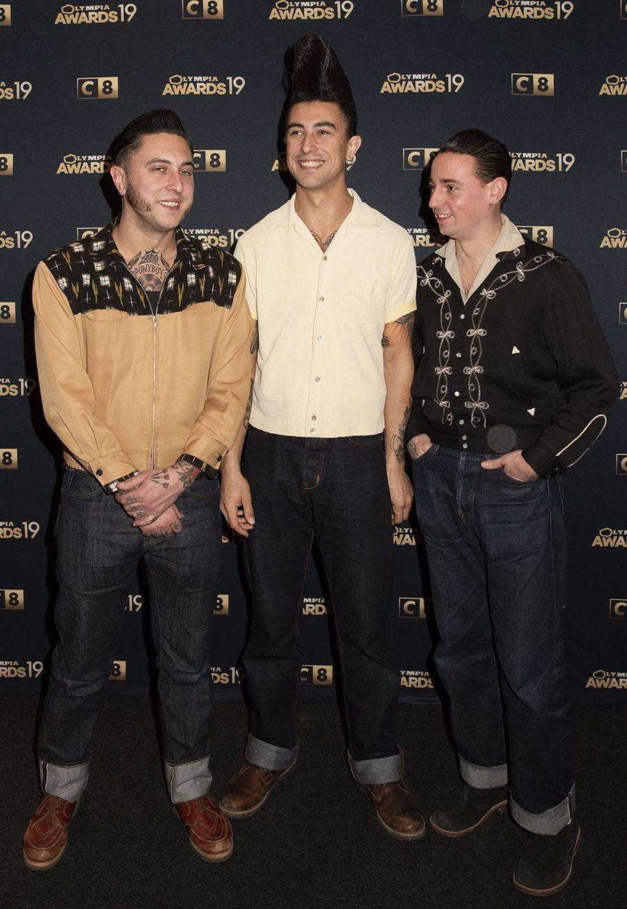 Les Spuny Boys (Rémi, Guillaume et Félicien)lors de la 1ère édition des Olympia Awards, cérémonie récompensant des artistes de la musique et de l'humour, à Paris le 11 décembre 2019