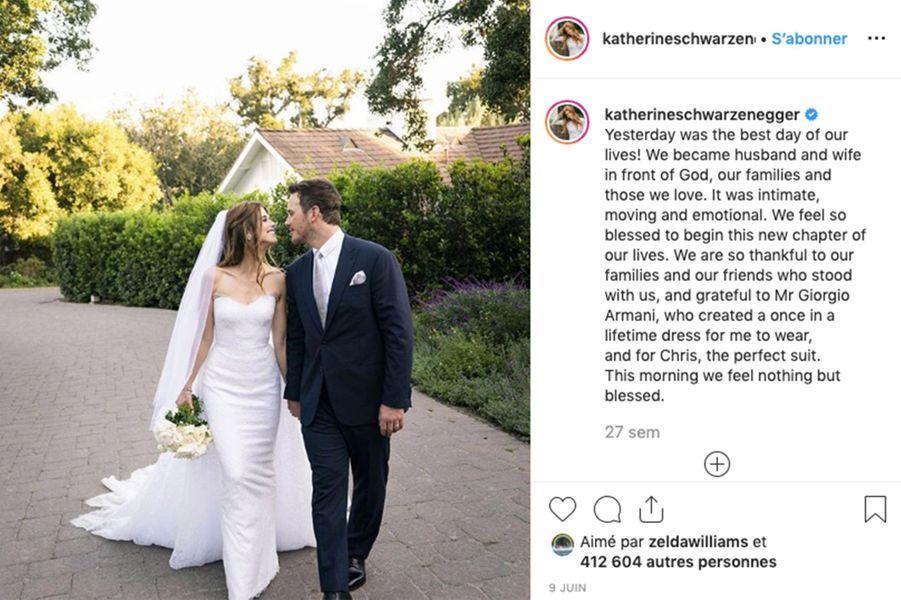 Pile un an après le début de leur relation, Chris Pratt a épousé Katherine Schwarzenegger le 8 juin 2019 à Montecito.