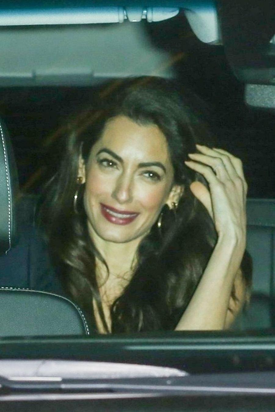 Amal Clooneyà la soirée d'anniversaire de Jennifer Aniston à Los Angeles le 9 février 2019