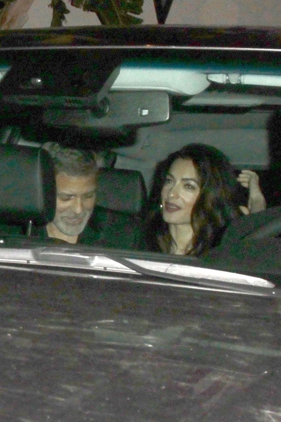 George et Amal Clooney à la soirée d'anniversaire de Jennifer Aniston à Los Angeles le 9 février 2019