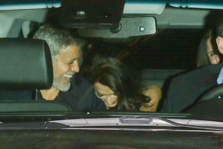 George et Amal Clooneyà la soirée d'anniversaire de Jennifer Aniston à Los Angeles le 9 février 2019