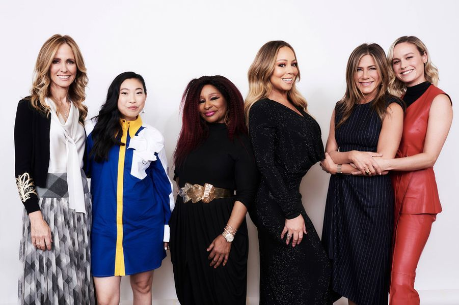 Dana Walden, Awkwafina, Chaka Khan, Mariah Carey, Jennifer Aniston et Brie Larson à la soirée «Variety's Power of Women» à Los Angeles le 11 octobre 2019