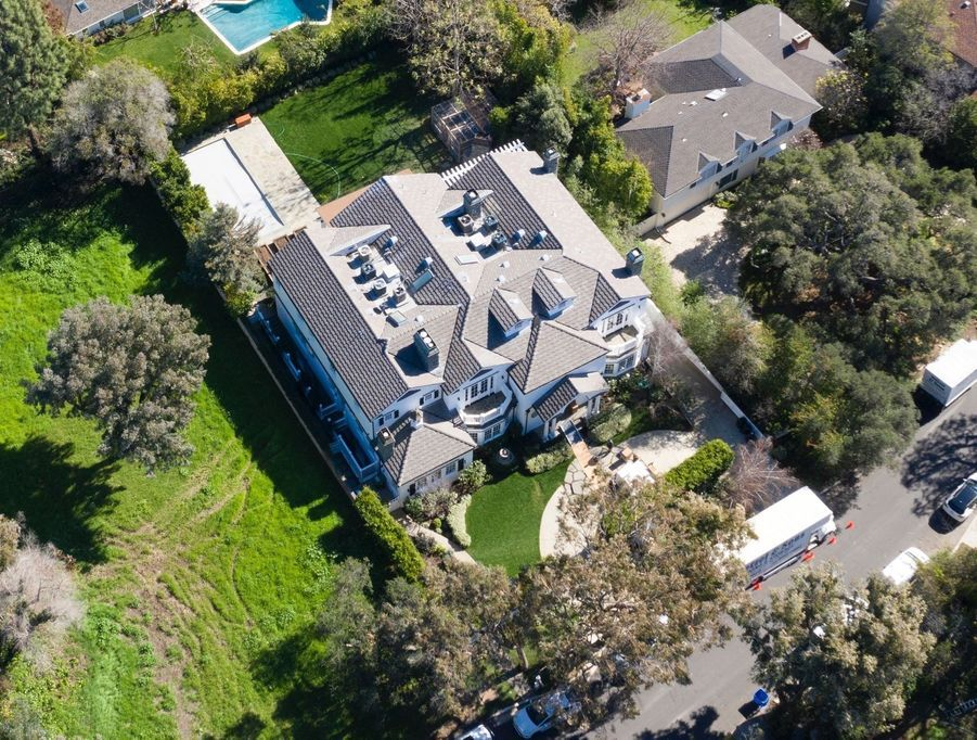Vue aérienne de la nouvelle maison de Jennifer Garner dans le quartier de Pacific Palisades à Los Angeles, le 6 février 2019