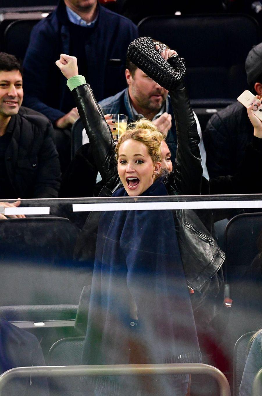 Jennifer Lawrence au match des Rangers, dimanche 4 novembre