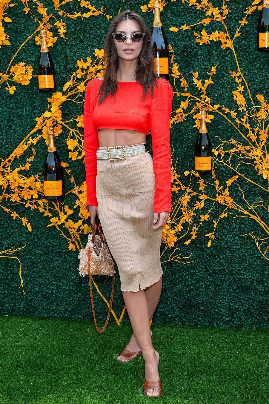 Le mannequin Emily Ratajkowski lors de la 12eédition du Veuve Clicquot Polo Classic, auLiberty State Park (New Jersey), le 01 juin 2019.