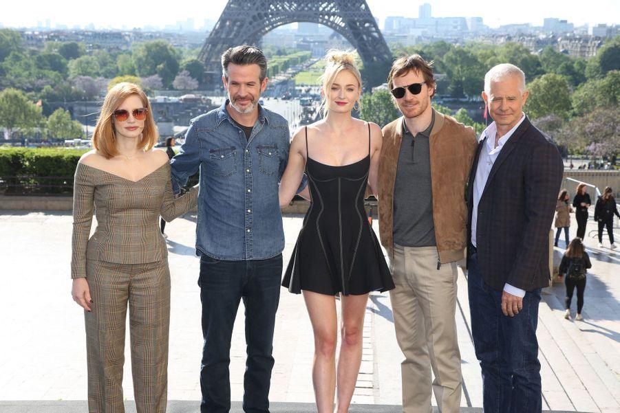 Jessica Chastain, Simon Kinberg, Sophie Turner, Michael Fassbender et Hutch Parker à Paris le 26 avril 2019
