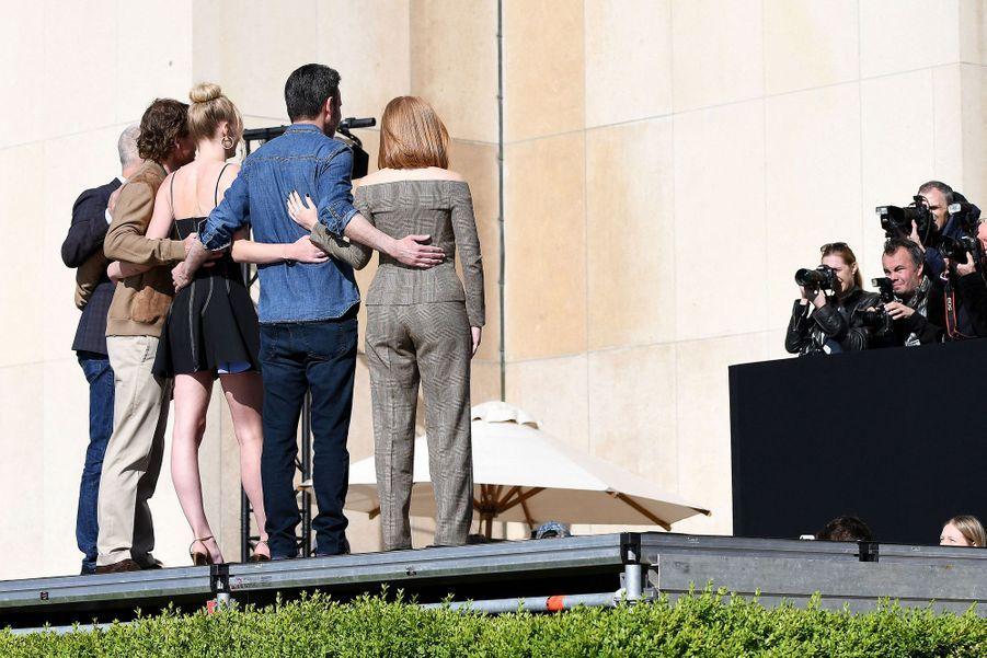Jessica Chastain, Simon Kinberg, Sophie Turner, Michael Fassbender et Hutch Parkerà Paris le 26 avril 2019