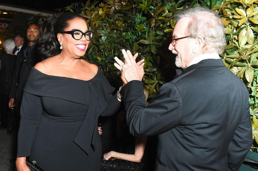 Oprah Winfrey et Steven Spielberg à la soirée des 50 ans de Ralph Lauren à New York, vendredi 7 septembre