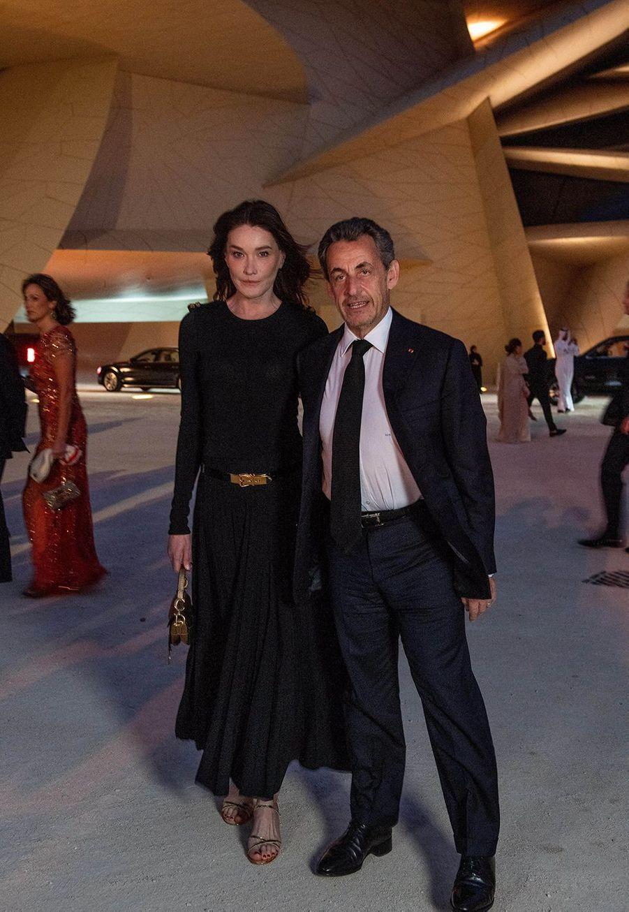 Carla Bruni et Nicolas Sarkozyà l'inauguration du musée national du Qatar à Doha le 27 mars 2019