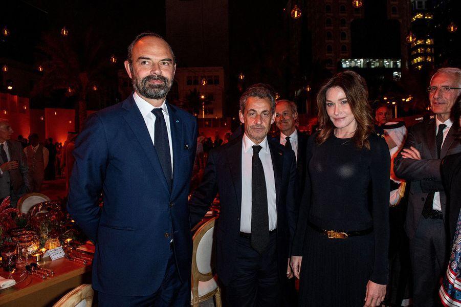 Edouard Philippe, Nicolas Sarkozy et Carla Brunià l'inauguration du musée national du Qatar à Doha le 27 mars 2019