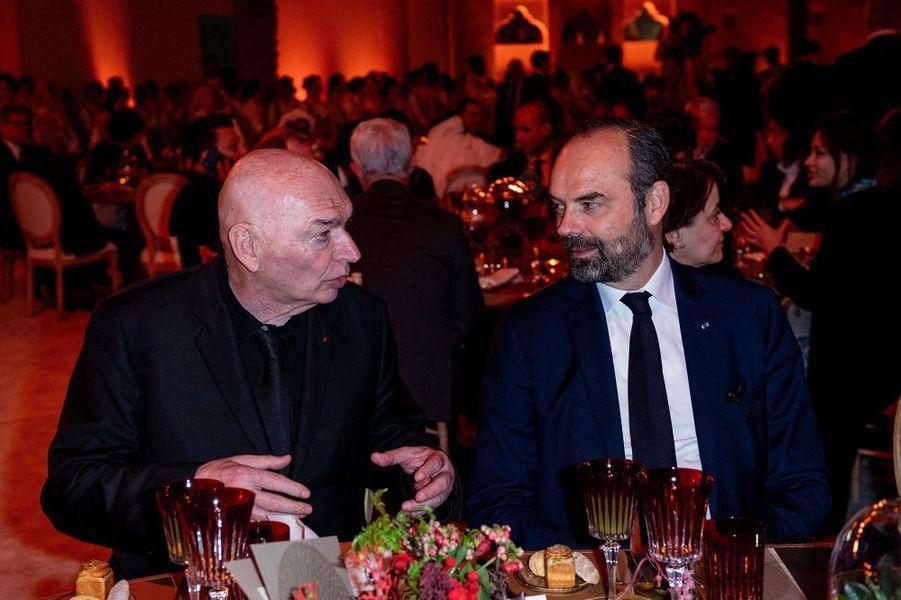 Jean Nouvel et Edouard Philippeà l'inauguration du musée national du Qatar à Doha le 27 mars 2019