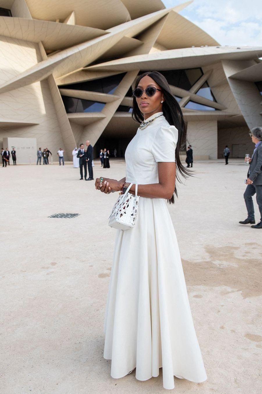 Naomi Campbellà l'inauguration du musée national du Qatar à Doha le 27 mars 2019