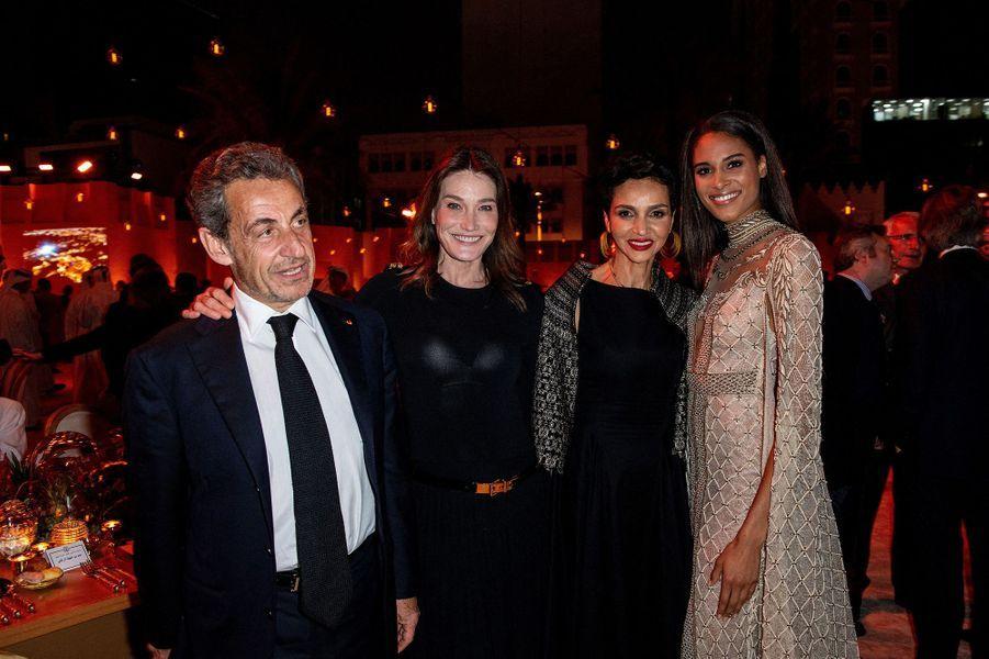 Nicolas Sarkozy, Carla Bruni, Farida Khelfa et Cindy Brunaà l'inauguration du musée national du Qatar à Doha le 27 mars 2019