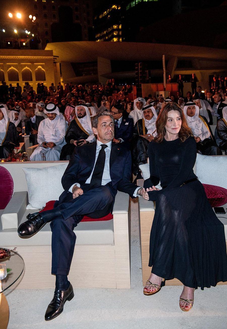 Nicolas Sarkozy et Carla Brunià l'inauguration du musée national du Qatar à Doha le 27 mars 2019