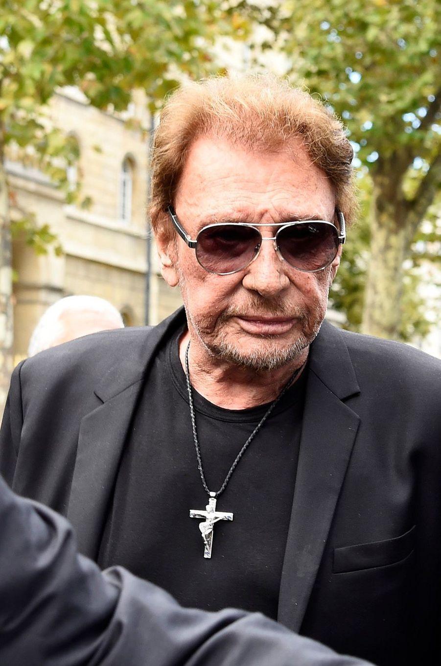 Johnny Hallydayaux funérailles de Mireille Darc, le 1er septembre 2017.