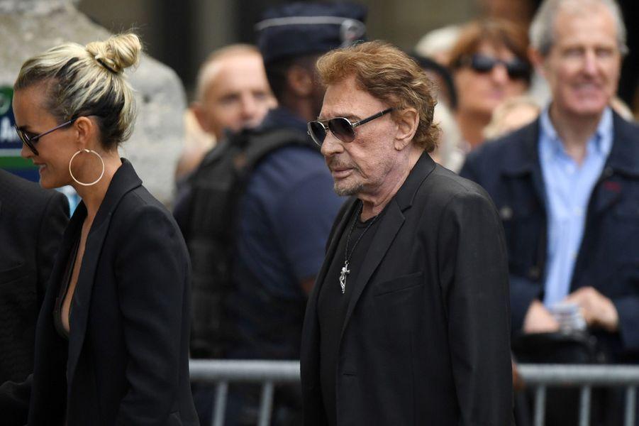 Johnny et Laeticia Hallydayaux funérailles de Mireille Darc, le 1er septembre 2017.