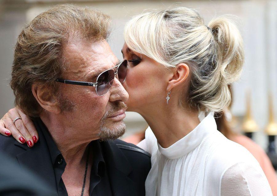 Johnny Hallyday et Laeticia à Paris.