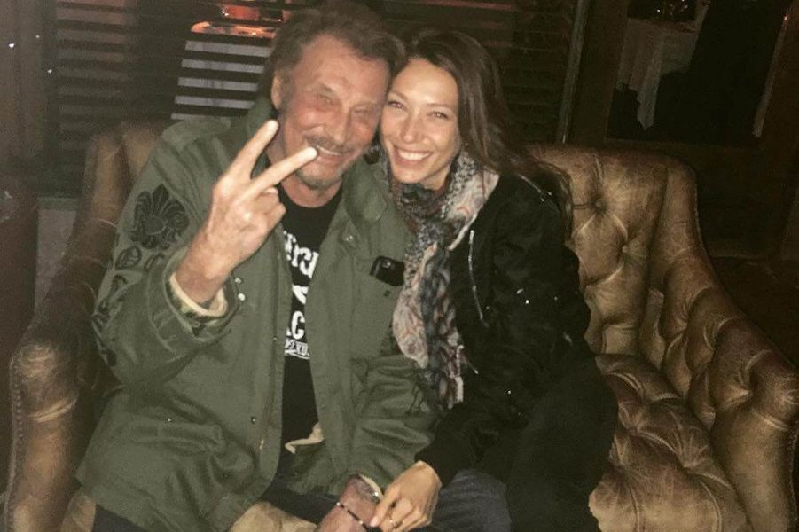 Johnny Hallyday avec sa fille Laura Smet à Los Angeles, mars 2017.
