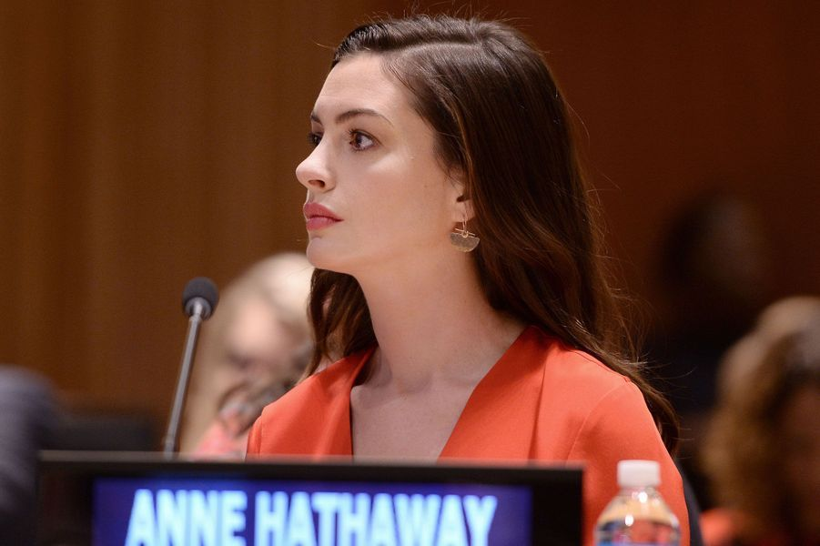Anne Hathaway à l'ONU le 8 mars 2017.