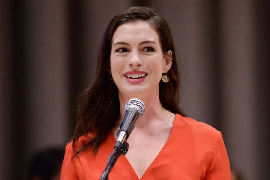 Anne Hathaway à l'ONU à New York le 8 mars 2017.