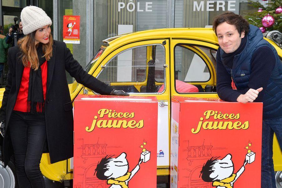 Joyce Jonathan et Vianney se mobilisent pour les Pièces Jaunes, le 4 janvier 2016.