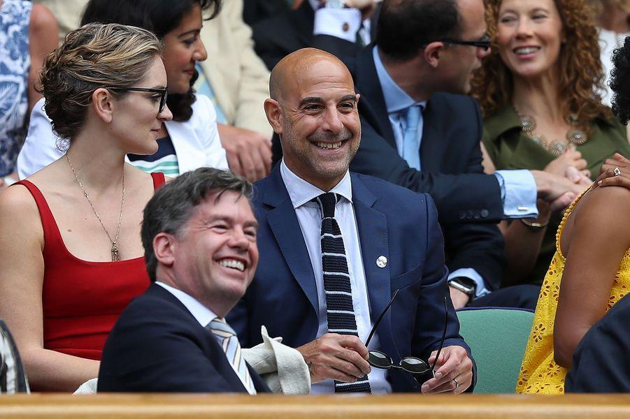 Felicity Blunt et Stanley Tucci à Wimbledon.