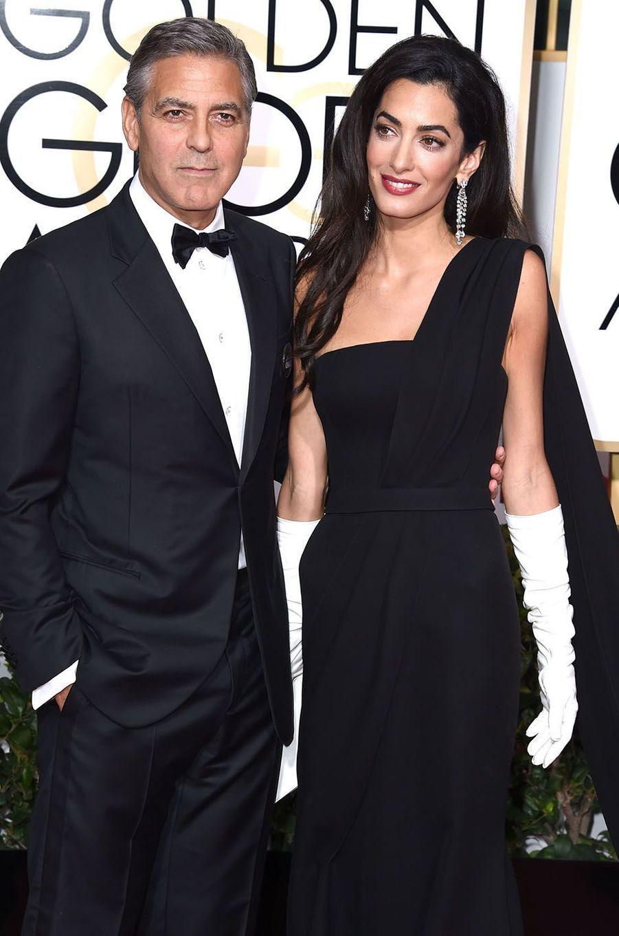 George Clooney et son épouse Amal en 2015.