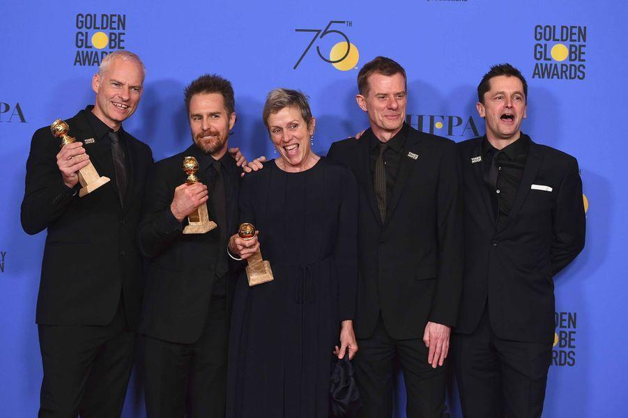 Martin McDonagh, Sam Rockwell, Frances McDormand, Graham Broadbent et Peter Czernin en 2018