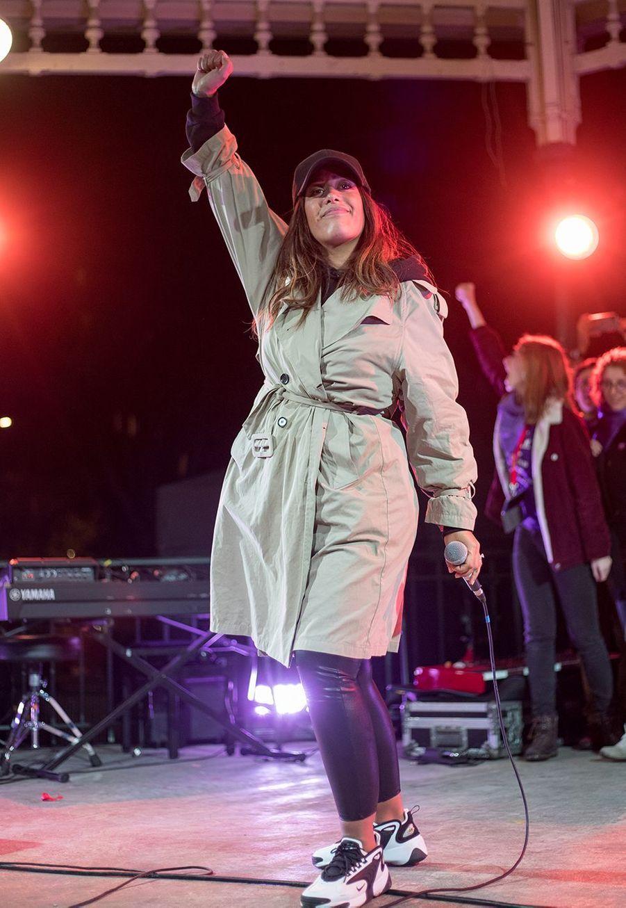 Amel Bentlors du concert terminant la marche contre les violences sexistes et sexuelles organisée par le collectifNousToutes à Paris le 23 Novembre 2019.