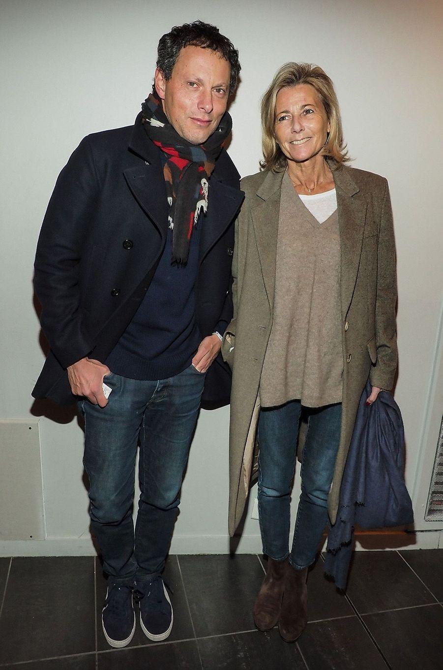 Claire Chazal et Marc-Olivier Fogiel au MK2 Bibliothèque, à Paris, le 26 janvier 2018.