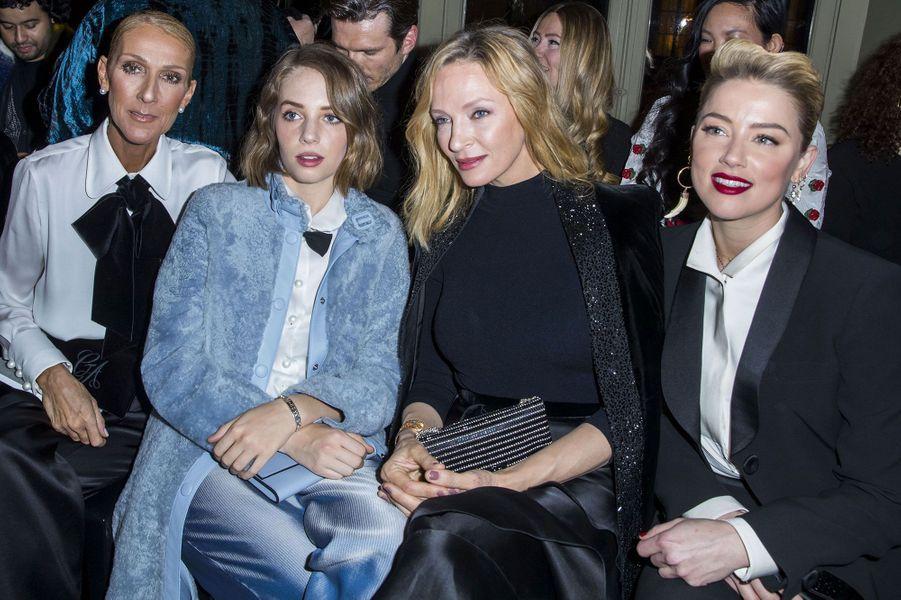 Céline Dion, Uma Thurman et sa fille Maya et Amber Heard