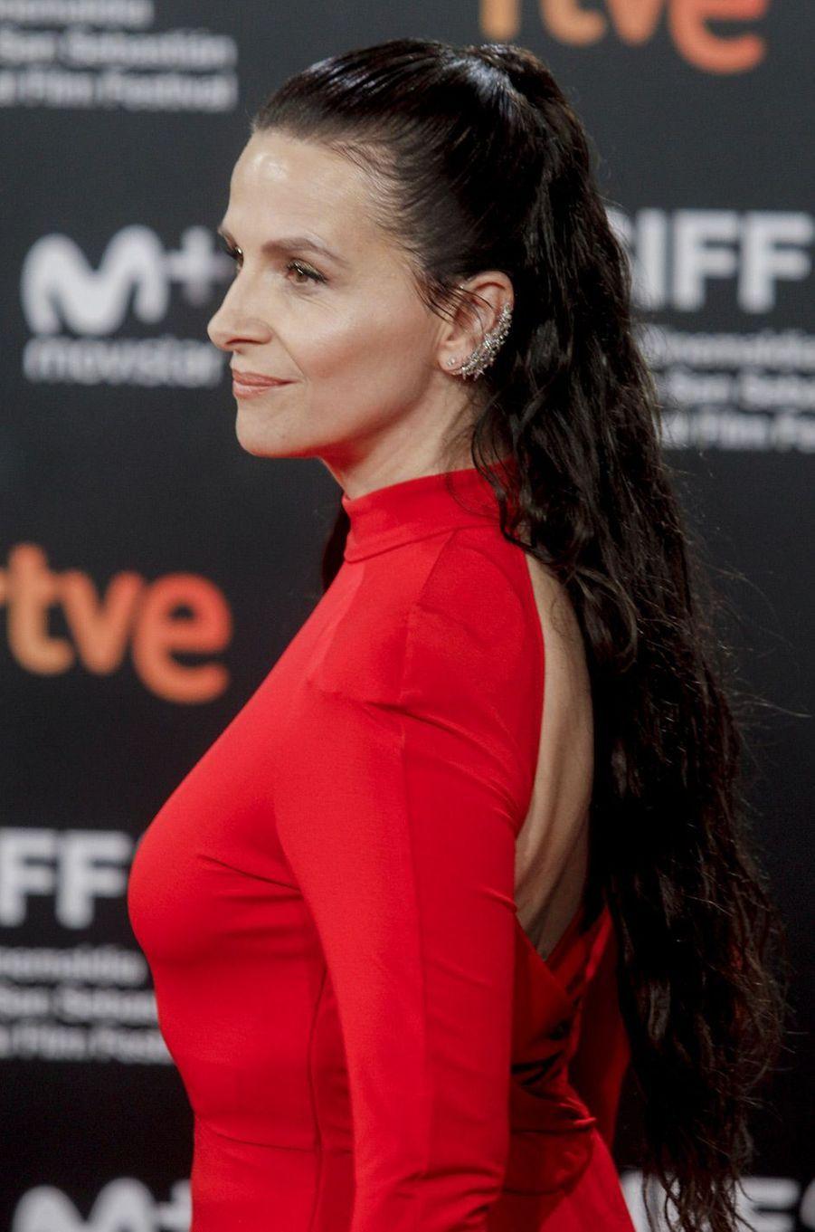 """Juliette Binoche présente """"High Life"""", de Claire Denis, au festival du film de San Sebastian, jeudi 27 septembre"""