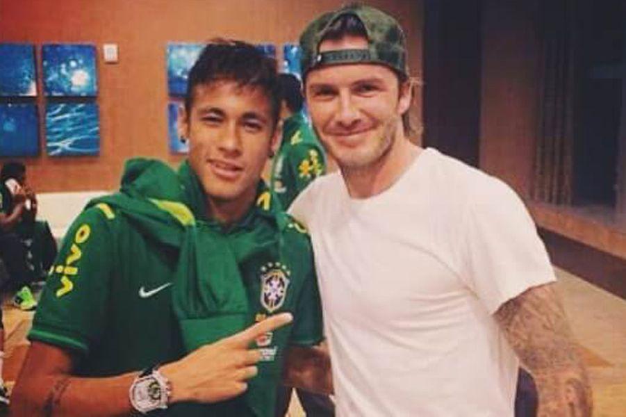 Neymar et David Beckham.