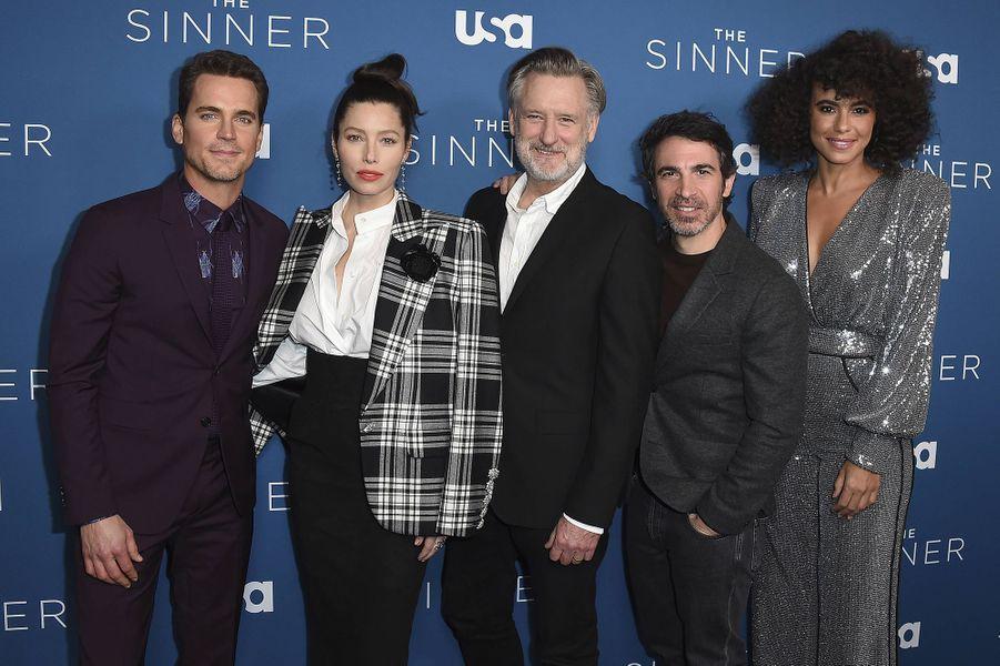 Matt Bomer, Jessica Biel, Bill Pullman, Chris Messina et Parisa Fitz-Henley à la première de la saison 3 de la série «The Sinner» à Los Angeles le 3 février 2020