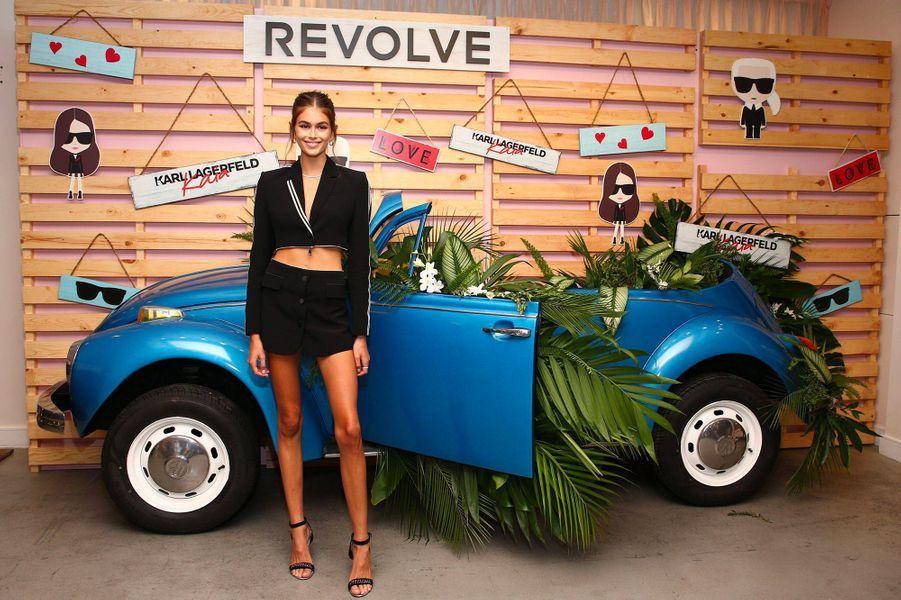 Kaia Gerber à Los Angeles pour le lancement de sa collection avec Karl Lagerfeld, jeudi 30 août