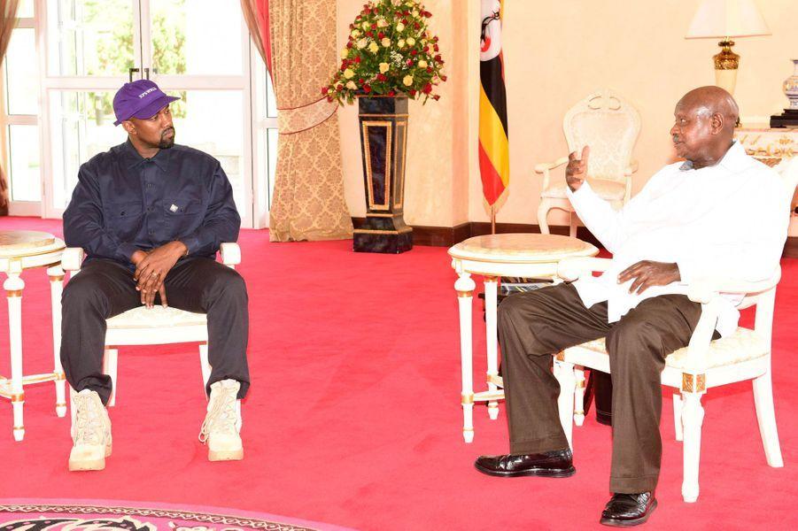 Kanye West et le présidentYoweri Musevenià Entebbe, le 15 octobre 2018