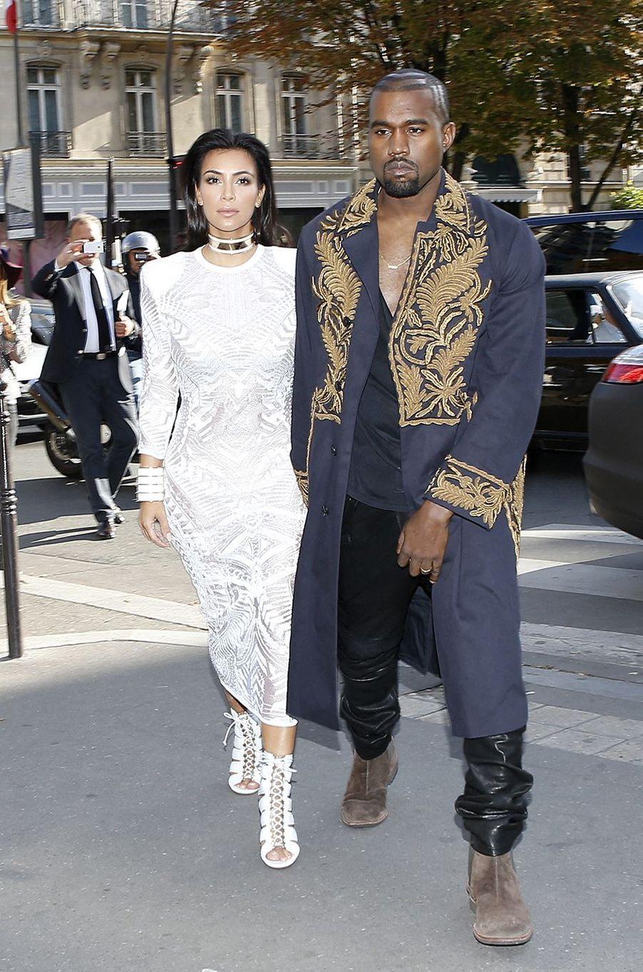 Kim Kardashian et Kanye West à Paris en septembre 2014
