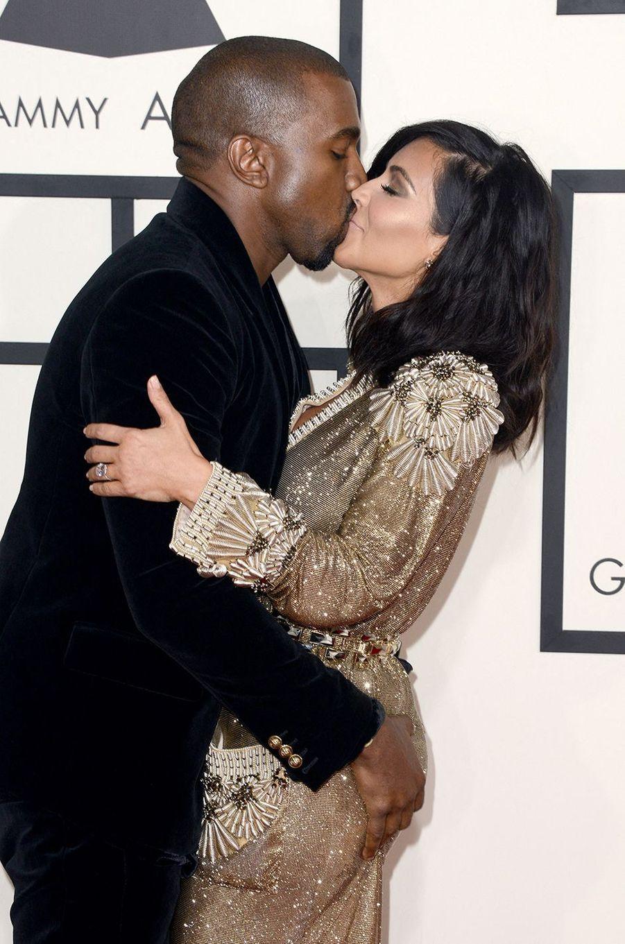 Kim Kardashian et Kanye West aux Grammy Awards à Los Angeles en février 2015