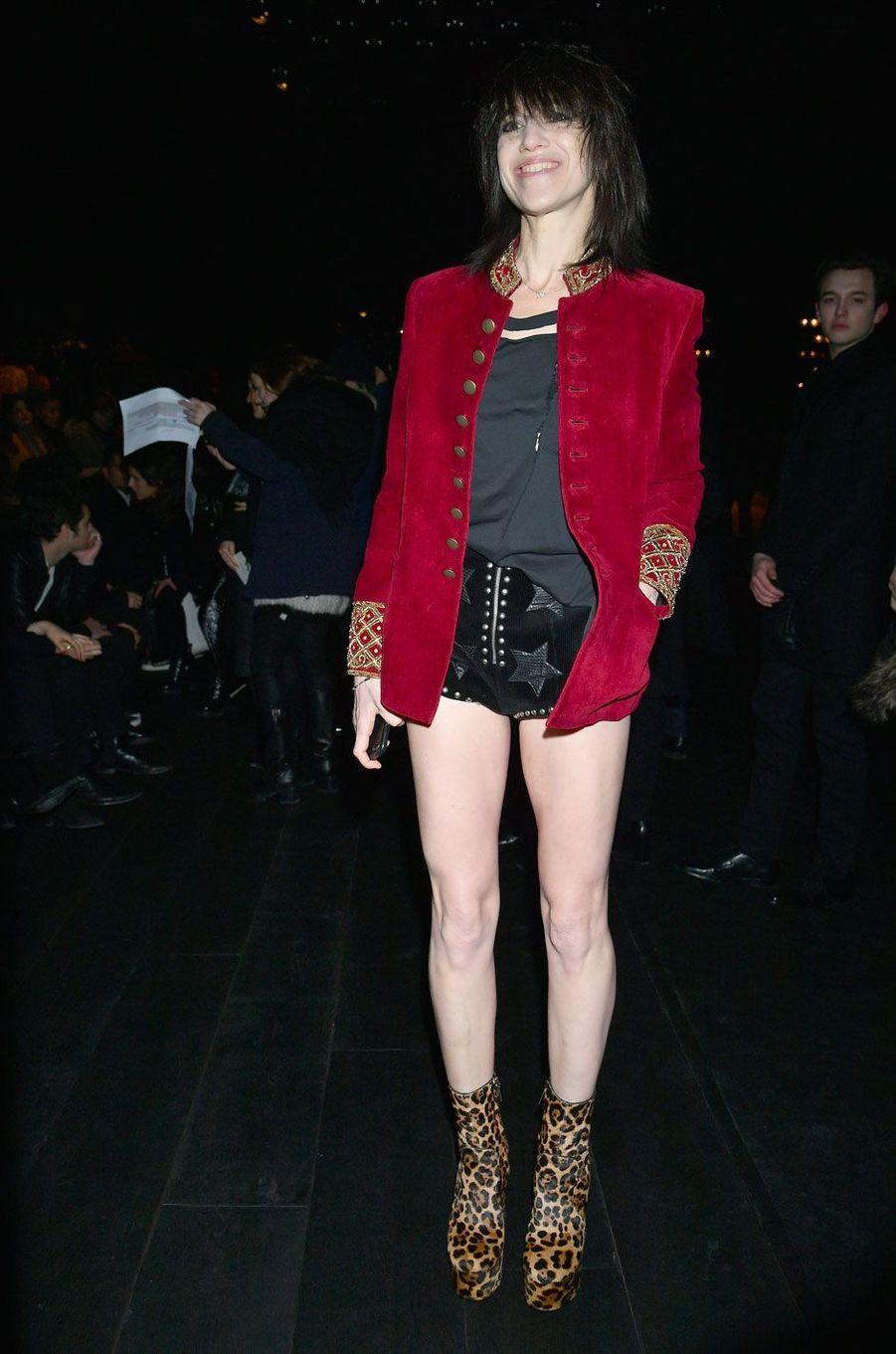 Charlotte Gainsbourg au défilé Saint Laurent à Paris, le 27 février