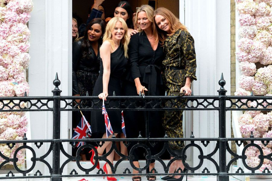 Stella McCartney, Kate Moss et Kylie Minogue à Londres le 12 juin 2018