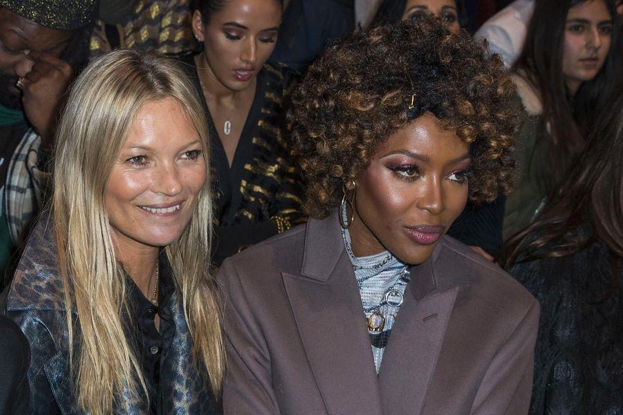 Kate Moss et Naomi Campbell au défilé Dior Homme à Paris, le 18 janvier 2019.