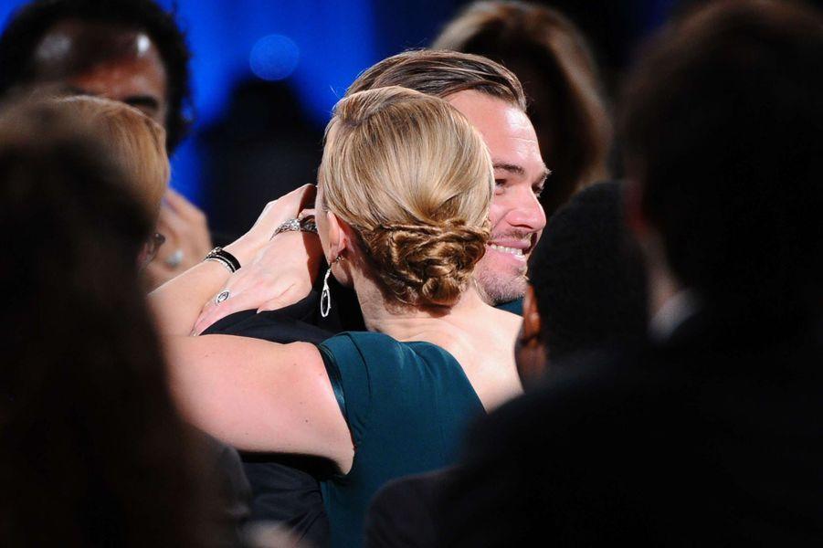 Kate Winslet et Leonardo DiCaprio aux SAG Awards 2016.