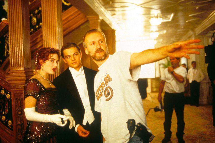 Kate Winslet, Leonardo DiCaprio, James Cameron sur le tournage de «Titanic»