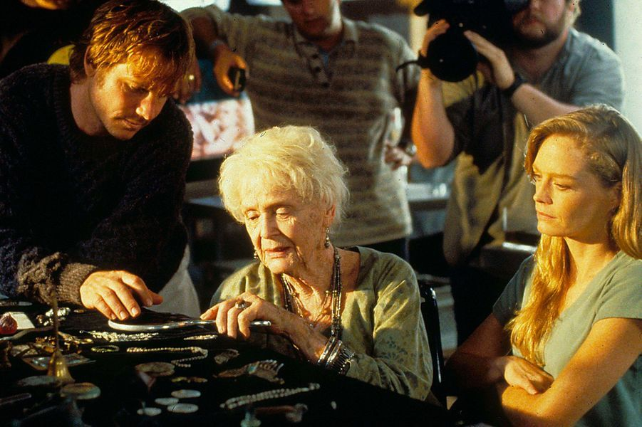 Bill Paxton, Gloria Stuart et Suzy Amis sur le tournage de «Titanic»